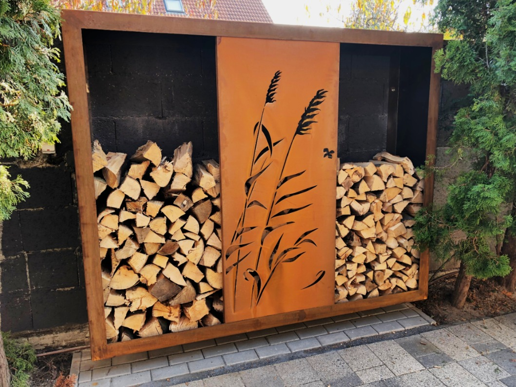 corten exterior wood storage foxysteel