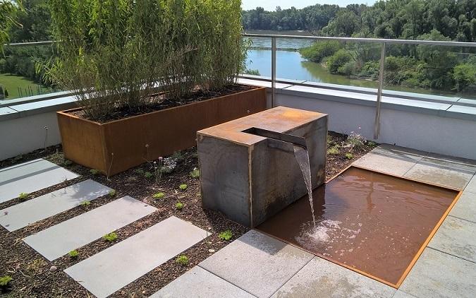vodny prvok terasa corten vyvyseny zahon