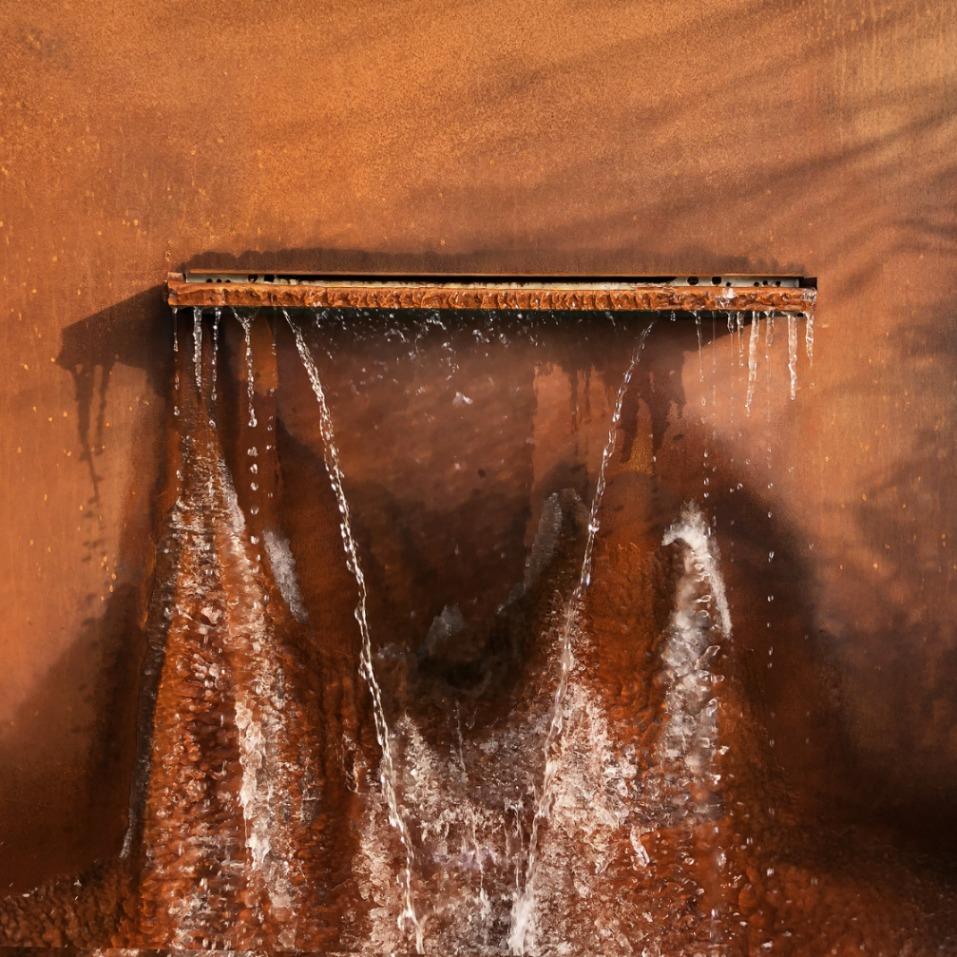 Cortenová vodná záhradná stena