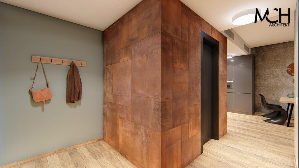 corten obklad steny interier foxysteel